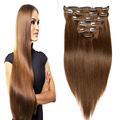 7A Brazilian Virgin Hair Straight Remy Clip in Human Hair Extensions Brown Clip In Hair Extensions Clip Ins 7pcs/set 70G-220G