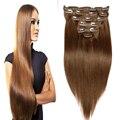 7A brasileiro virgem cabelo liso Remy grampo em extensões do cabelo humano Brown Clip In Hair Extensions clipe Ins 7 pçs/set 70 G - 220 G