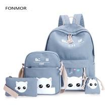 2019 4pcs/Set Laptop School Backpacks for Girls Boys Teenagers Female Bagpack Sac A Dos Femme Cute Cat Canvas Satchel Kids