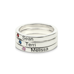 Image 2 - Personalized Stackable Engraved Name Rings with Birthstone Triple Stackable Ring 925 Sterling Silver Custom Jewelry