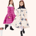 Down & Parkas 2016 Children Winter Stitching high collar Thick Down jackets Princess Girl Long Warm Cartoon Coat Kids Outerwear