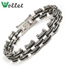 Wollet Jewelry 316L Stainless Steel Magnetic Bracelet For Men Biker Bicycle Motorcycle Chain Wristband Punk Black Silver Color 24 20mm 400g heavy huge 316l stainless steel silver motorcycle chain biker jewelry men s necklace fashion gift top quality