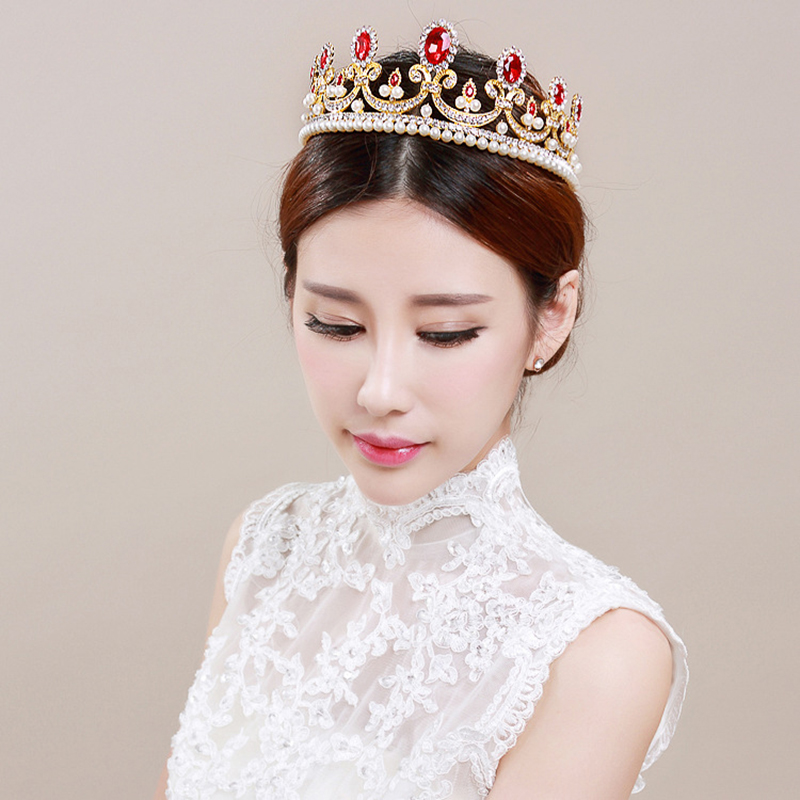 Korean Fashion Red Crystal Tiara Gold Crown Women Queen Crown Tiara Bride Crystal Hair Jewelry Wedding Accessories