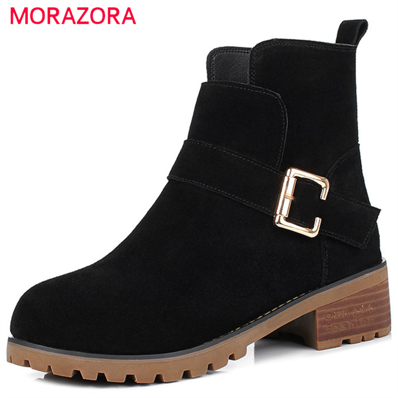 MORAZORA Leather boots for women fashion shoes woman ankle boots in spring autumn cow suede med heels shoes solid buckle morazora new china s style knee high boots flowers embroidery spring autumn boots for women zipper cow suede med heels boots