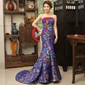 Fashion Chinese Style Wine Red/Royal Blue Satin Beaded Embroidery Mermaid Evening Dresses Formal Party Prom Gowns Robe De