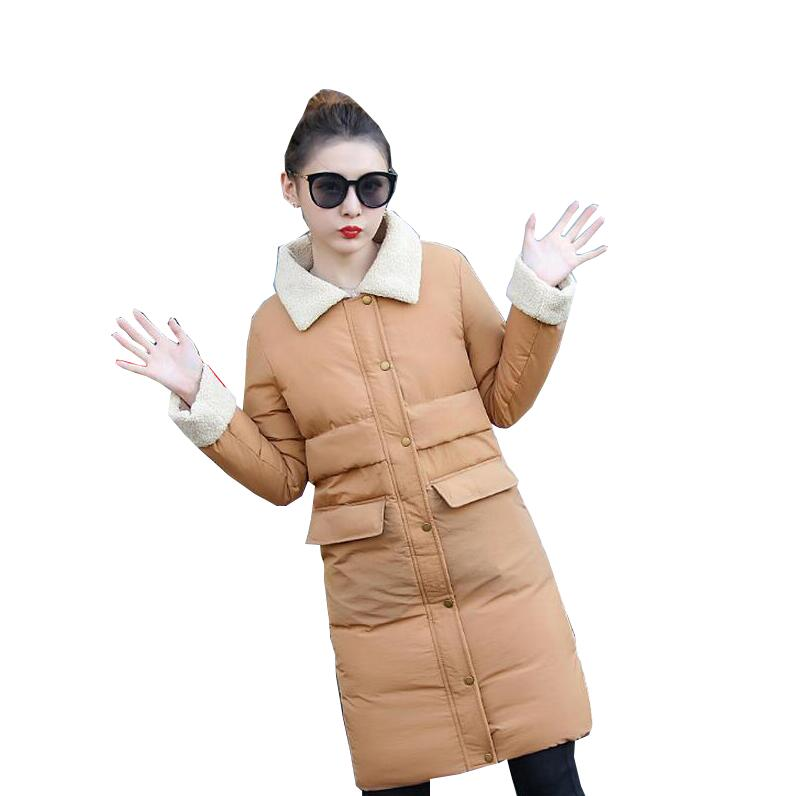 New 2017 Winter Cotton Coat Women SlimMedium-long Wadded Jacket Thick Lambs wool Warm Cotton Parka outwear s933 new 2016 winter cotton coat women slim plus size outwear medium long wadded jacket thick lambs wool warm cotton parka g2788