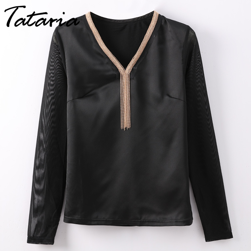 TATARIA Women Tops Shirt Bloues Female Tassels V Neck Long Sleeve Summer Blouse Shirt Femme Plus Size Chemise Femme Ladies Tops ...