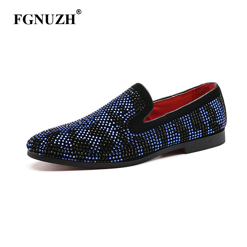 FGNUZH Spikes Fashion Brand Mens Loafers Luxury Shoes Denim And Metal Sequins High Quality Casual Party Men Shoes ST382(China)