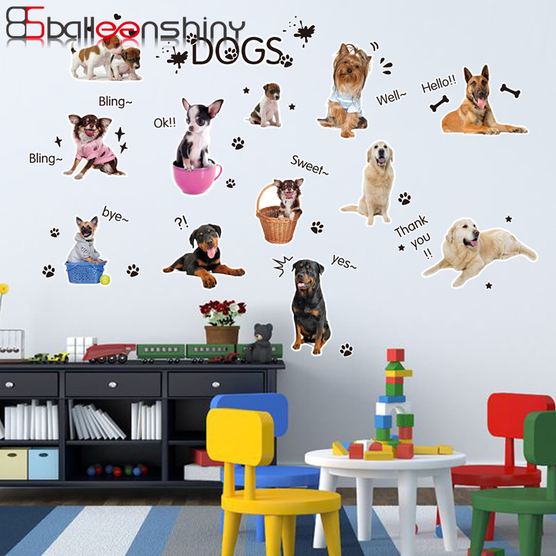 Balleenshiny энциклопедия собака Приключения стены наклейки Салон детской Детская комната раннего обучения известное имя собака наклейки