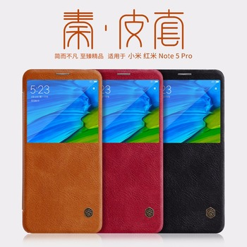 Xiaomi Redmi Note 5 Global Version Leather Case Nillkin QIN Series Flip Cover Redmi Note 5 Case Luxury Brand Big View Window