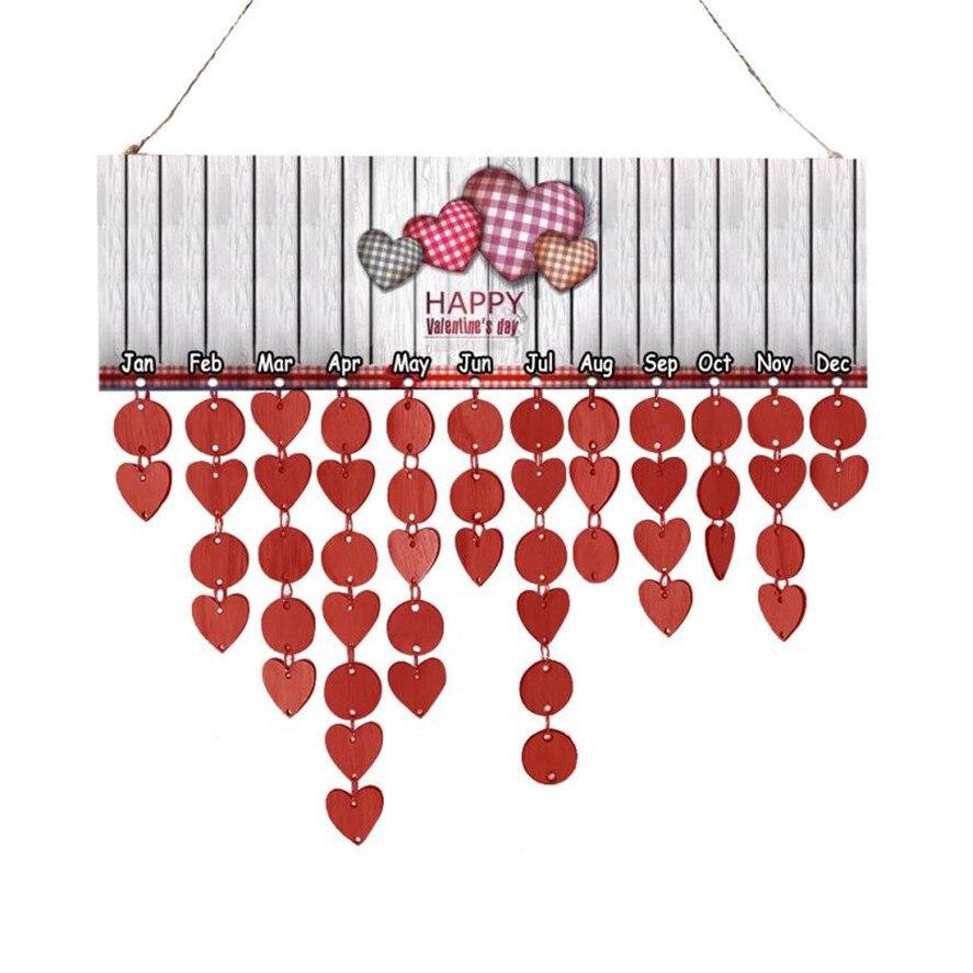 Новый 1 шт. дерево на день рождения напоминание доска березовой фанеры табличка знак Счастливый День святого Валентина DIY календарь Главная ...