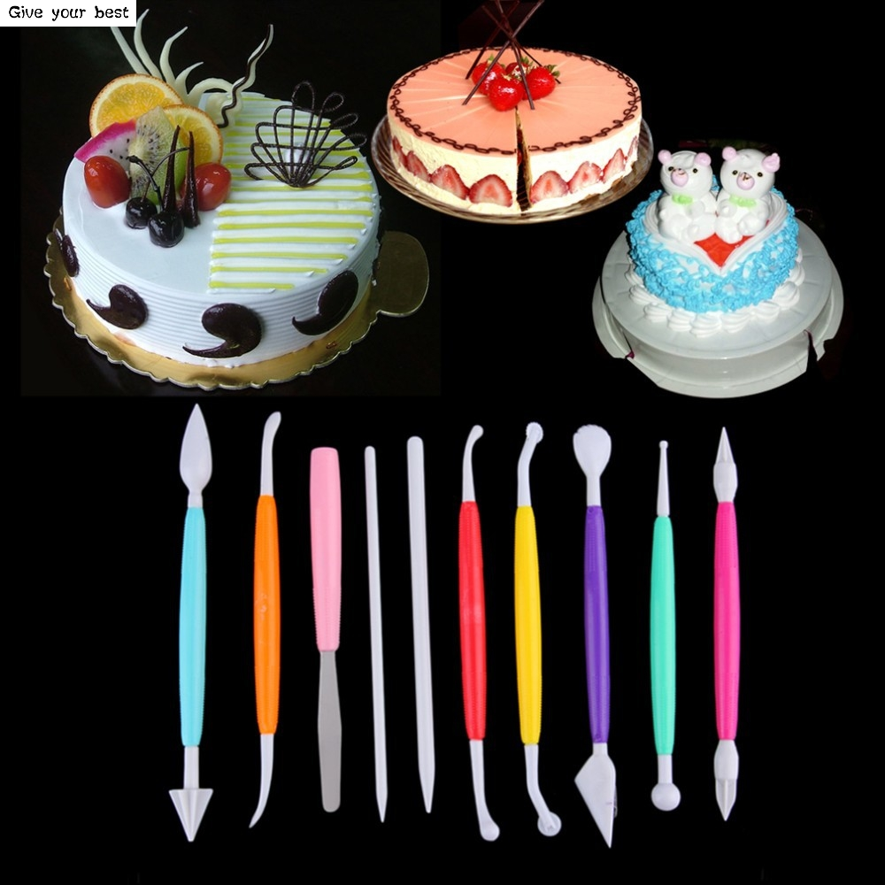 10 unids / set Color Carving Group Fondant Sugar Cake Talla Pluma de - Cocina, comedor y bar