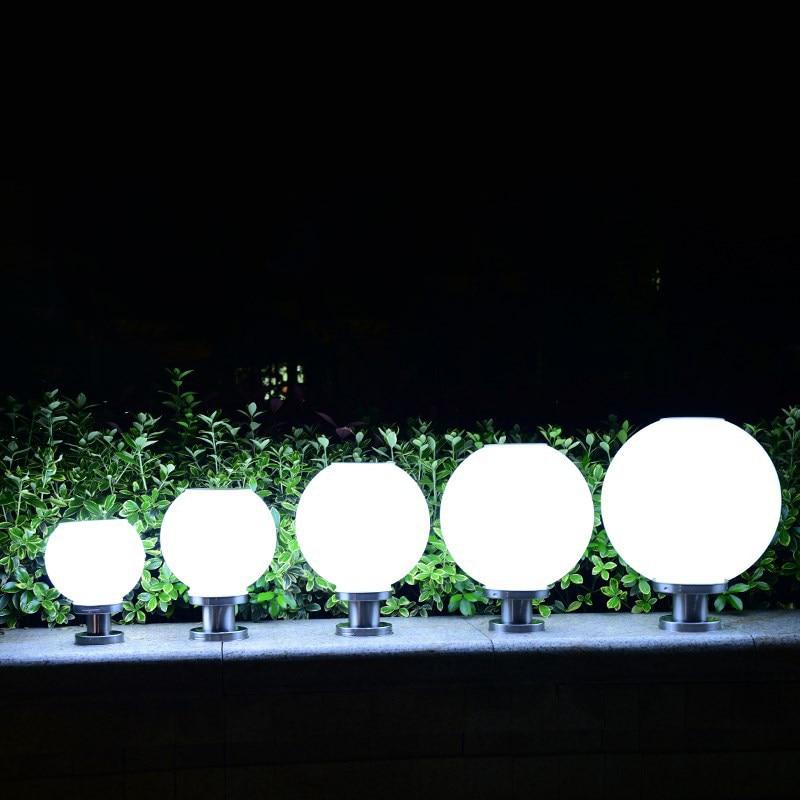 Image 5 - 18 светодиодный светильник с круглым шариком из нержавеющей стали, солнечный светильник, уличный IP65 водонепроницаемый светильник с колонной для сада, виллы, сада, отеля-in Светодиодные солнечные лампы from Лампы и освещение