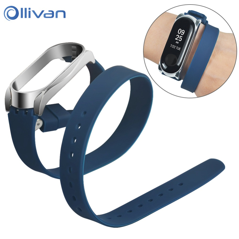 Long Sports Silicone Strap For Xiaomi Mi Band 3 4 Extend Bracelet Soft TPU Replacement Wristband Strap For Mi Band 4 Metal Case