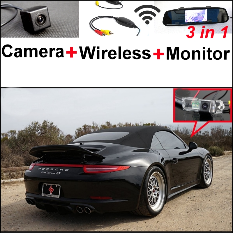 3 in1 Special Wifi Camera + Wireless Receiver + Mirror Monitor Parking System For Porsche 996 997 991 Carrera 911 Turbo GT2 GT3 wireless pager system 433 92mhz wireless restaurant table buzzer with monitor and watch receiver 3 display 42 call button