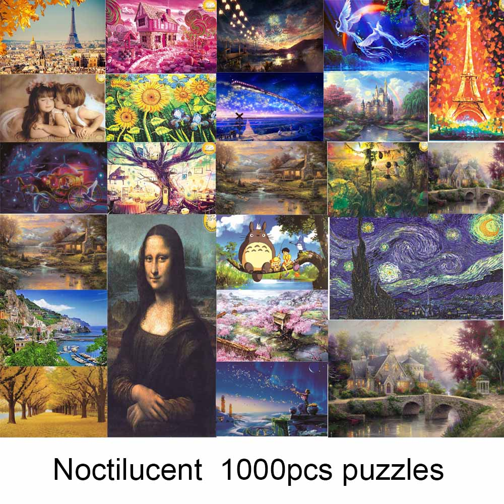 Home Cheap Sale 1000 Pieces Adult Puzzle Kids Jigsaw Landscape Puzzles Noctilucent Educational Toys For Children Adult Fluorescent Puzzles Gift