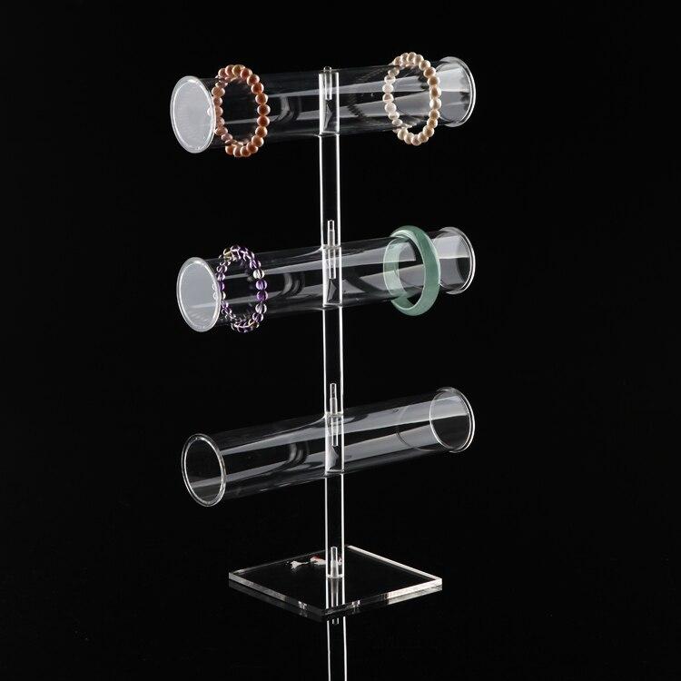 Acrylique clair bijoux affichage 3 couche T Bar Bracelet présentoir montre Stand titulaire Bracelet organisateur