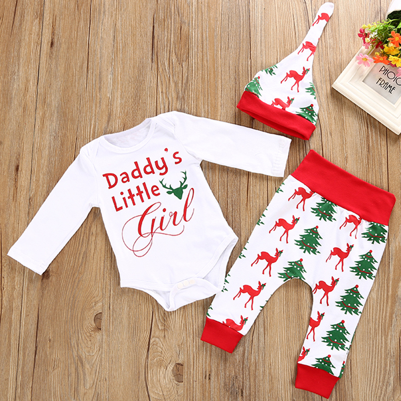 Christmas Baby Boys Girls Clothing Sets Autumn Winter Newborn Romper Long Deer Pants + Hat 3Pcs Infant Clothes