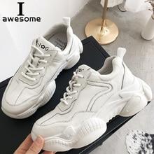 Купить с кэшбэком Genuine Leather Casual Women's Sneaker New 2019 Fashion White Platform Shoes Women Flats Sneakers Thick Sole Shoes Harajuku