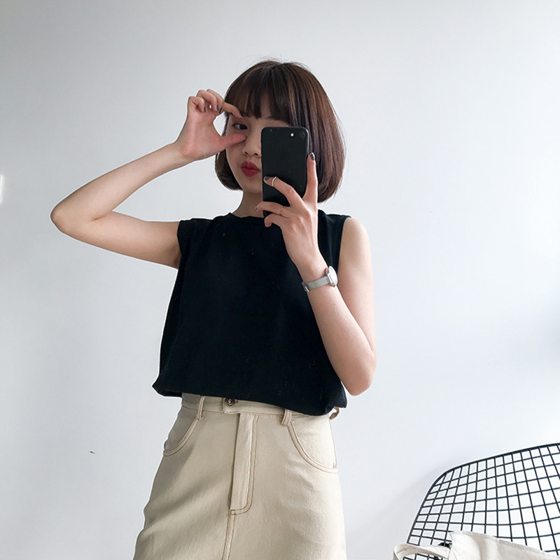 6 colors 2018 korean style solid color sleeveless   tanks     tops   womens cropped   tops   for womens (B1244)