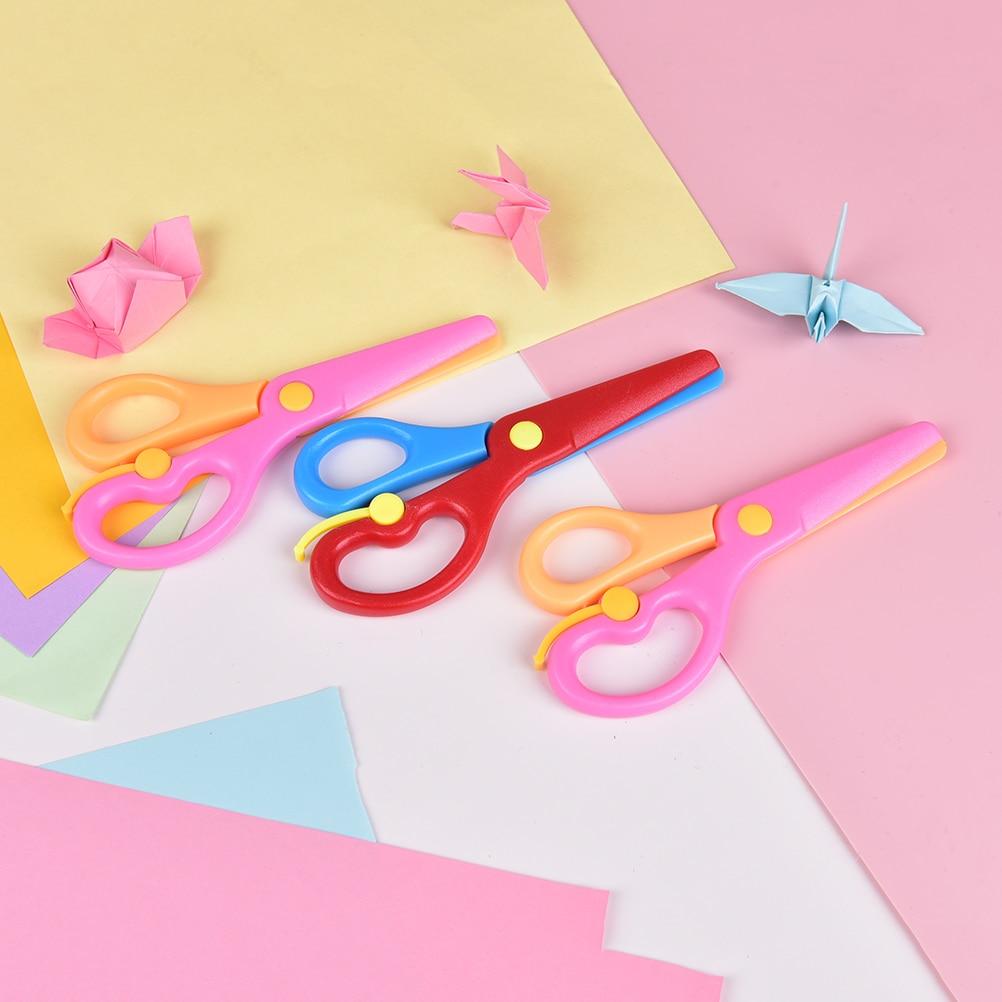 137mm Mini Safety Round Head Plastic Scissors Student Kids Paper Cutting Minions Supplies For Kindergarten School Random Color