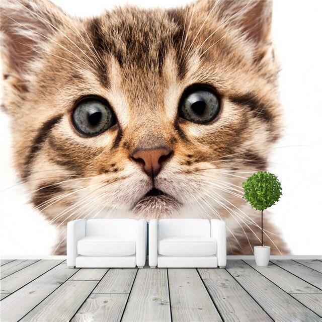 Cute Cat Wall Mural Animal World Photo Wallpaper Custom Size Wallpaper  Waterproof Silk Mural Art Home