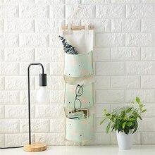 Cotton Linen Door Hanging Bag Multi Pockets Wall Mounted Storage Bag Sundries Organizer Waterproof Storage Bag