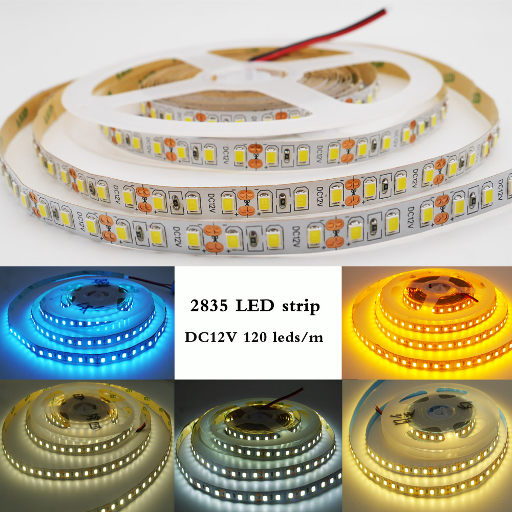 Flexible LED Strip light 5M 2835 SMD DC 12V 120 Leds/m NO-Waterproof white/warm white/Natural White/blue/Ice blue/golden yellow