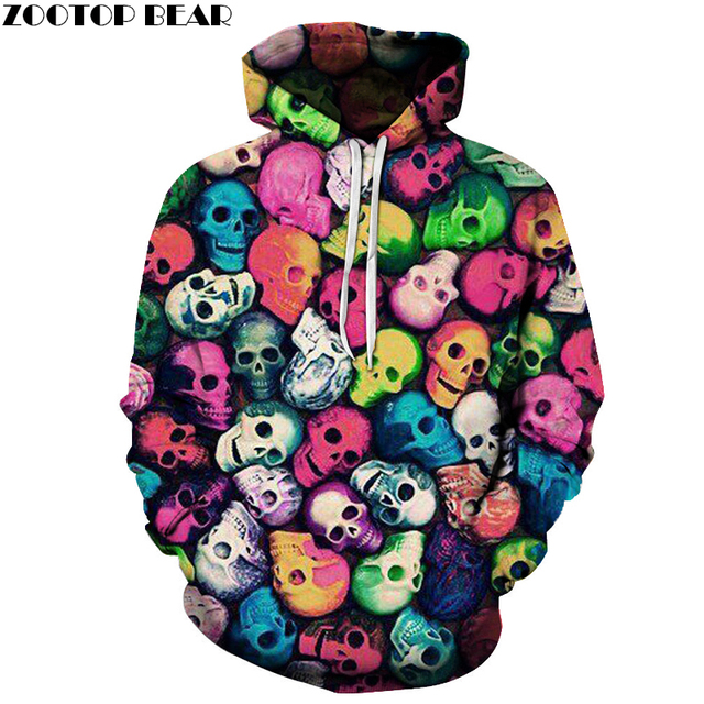 Colorful Skulls Hoodies 3D Prints Hoody Sweatshirt 2018 Street Style Tracksuit Pullover Mens Clothing Drop Ship ZOOTOP BEAR
