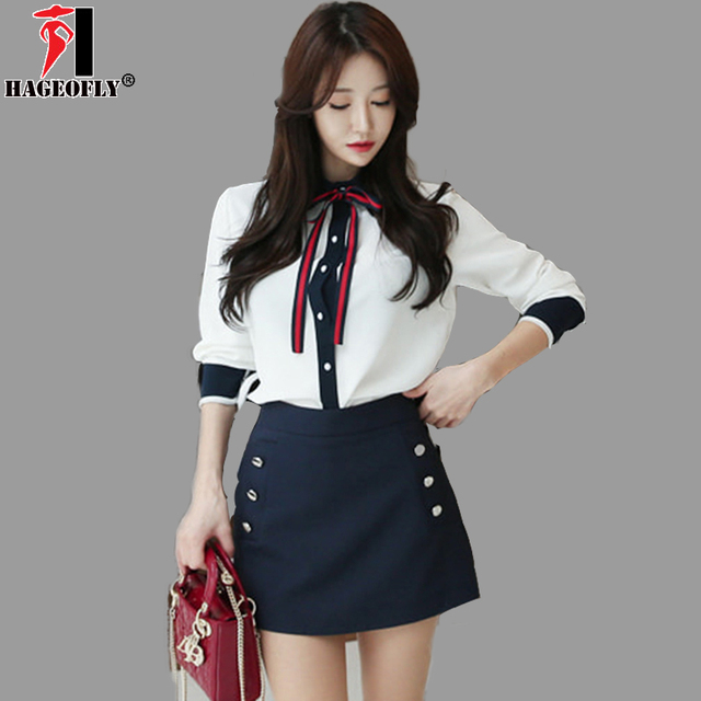 f0536b92c75 HAGEOFLY Korea 2 Pieces Sets Long Sleeve White Shirt with Dark Blue Mini  Skirt OL Office