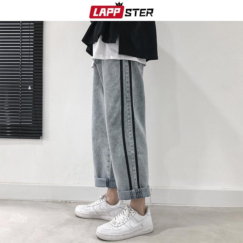 LAPPSTER Men Harajuku Harem Pants Jeans Denim Pants 2020 Streetwear Wide Leg Joggers Blue Jeans Man Korean Fashions Trousers