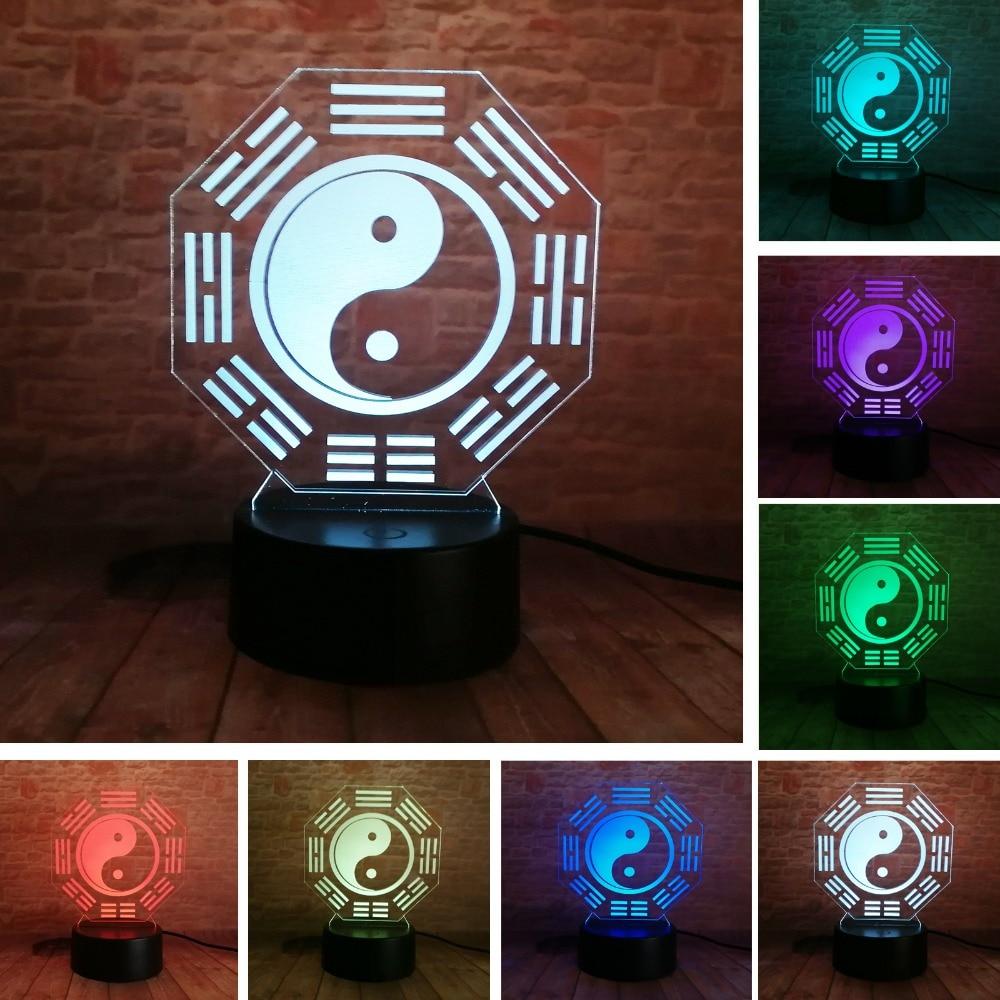 Chinese Prediction Feng Shui Taiji Bagua Lamp Yin Yang Tai Chi Night Light Home Office Table Deco Lamp Night Light Friend Gifts футболка lin chi feng as1