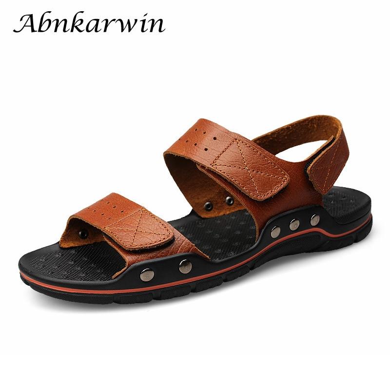 Men Sandals Leather Hook Loop Adjustable Open Shoes Men Fashion Beach Sandals Casual Style Light Men Summer Shoes Size 47 48
