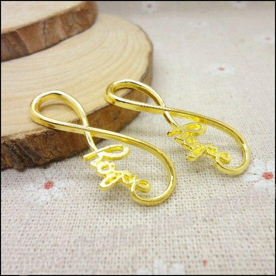 185d421566ca Al por mayor 48 unids oro-color carta Amuletos colgante fit collar de las  pulseras DIY metal fabricación de joyas