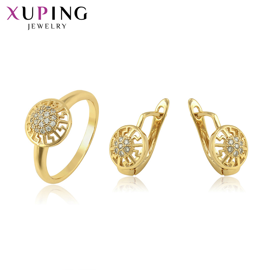 Xuping Fashion Jewelry Elegant Light Yellow Gold-color Plated Wedding Jewelry Sets for Women Christmas Day Gifts 54235