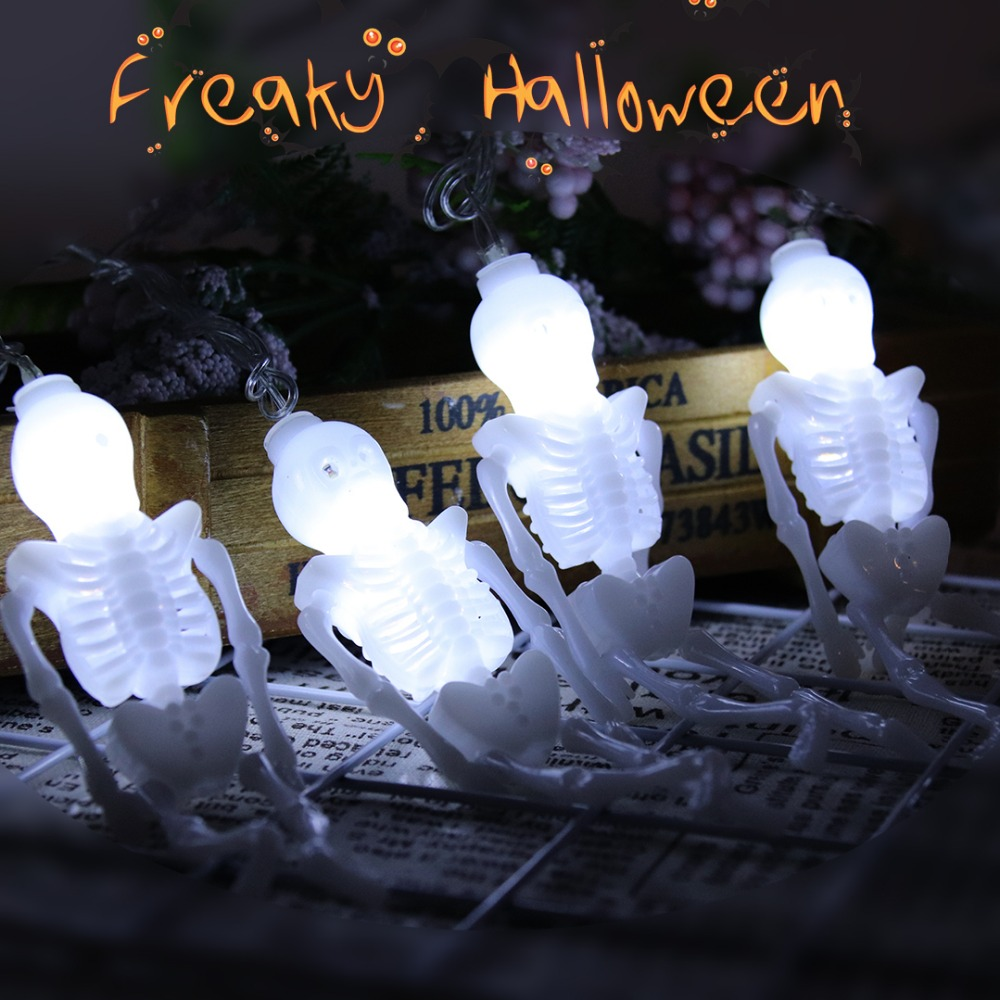 5M Strings Light LED Skeleton Shaped Halloween Decorative Lights 20Leds For Garden Party Outdoor Decoration EU Plug 220V JQ
