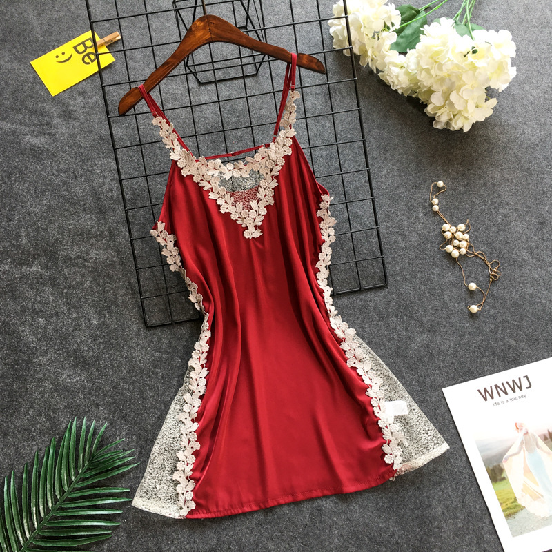 Summer Dress For Women Silk Satin Sleeveless Nightgown Sexy Lace Trim Nightdress Soft Sleepwear Homewear