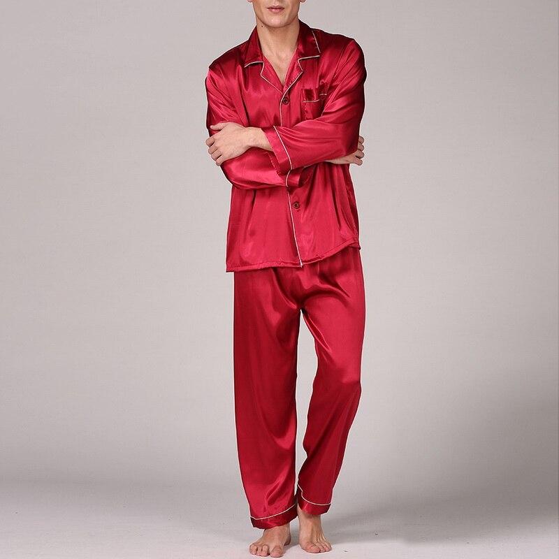 NIBESSER Men Classic Solid Sleepwear Sets Faux Silk Shirts Pants 2 Piece Sets  Long Sleeve Spring Autumn Sleepwear
