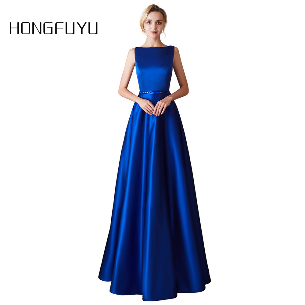 Fashion Royal Blue A Line Long Evening Dress Sexy Open Back Satin Crystal Belt Formal Evening