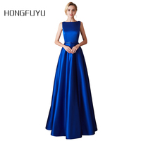 Fashion Royal Blue A Line Long Evening Dress Sexy Open Back Satin Crystal Belt Formal Evening Dresses 2019 Robe De Soiree