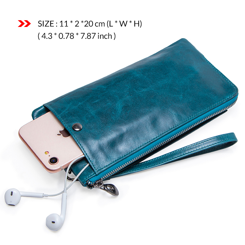 Image 2 - Fashion Wallet Women Genuine Leather Coin Purse Female Long Walet  Rfid Card Holder Large Capacity Clutch Bag With Phone HolderWallets
