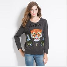 New 2017 High Women Ladies Cute Autumn Winter Luxury embroidery UFO Tiger Future Casual Sweaters Pullover High quality #E171