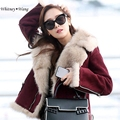 WHITNEY WANG Fashion Wine Red Suede Leather Jacket with Faux Fox Fur Collar Women Winter Coat  Motorcycle jacket aqueta de couro