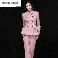 Новое поступление 2019 Ol Стиль Модные Штаны Костюмы Для женщин двубортный Блейзер 2 комплект из двух предметов клетчатая куртка и брюки пиджа