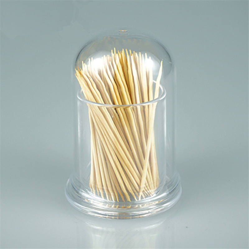 DoreenBeads Non-toxic Transparent Plastic Toothpicks Holder Cylindrical Cotton Swab Box Office Table Storage Box 5.5*7.6 cm 1 PC ...
