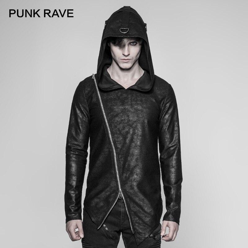 PUNK RAVE Nieuwe Punk Dagelijks Zwarte Gebreide Rits Truien Mannen Hoodie Gothic Diablo Mysterieuze Cool Fashion Street Wear Hooded