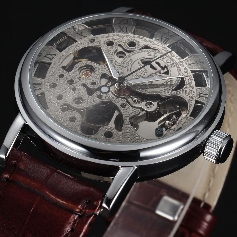 Casual New Fashion SEWOR Brand Skeleton Men Male Military Army Clock Classic Luxury Gold Mechanical Hand Wind Wrist Watch Gift