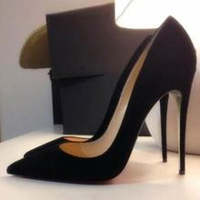 купить Big Sale Black Suede High Heels Pumps 12cm Pointed Toe Slip-on Pumps Women Shoes Customized High Stiletto Heels Dress Shoes по цене 3883.21 рублей