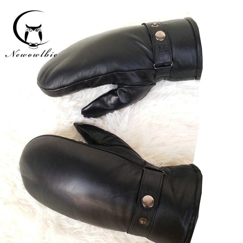 Men sheepskin gloves genuine leather glove for men winter Outdoor warm fur thickening thermal gloves