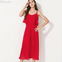 ENbeautter New Summer Sexy O Neck Halter Chiffon Dress Red Bohemia Beach Long Dresses Fake Two